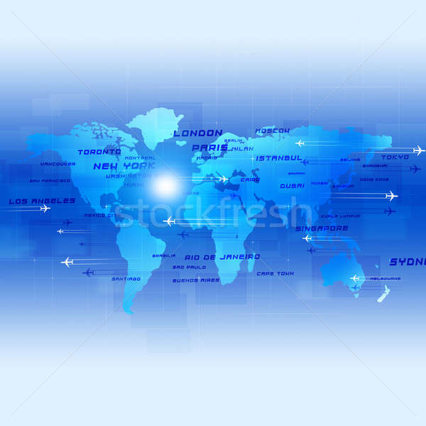 Aviación azul negocios global aviones ciudad Foto stock © alexaldo