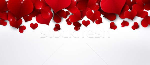 Kırmızı kalpler afiş tatil beyaz düğün Stok fotoğraf © alexaldo