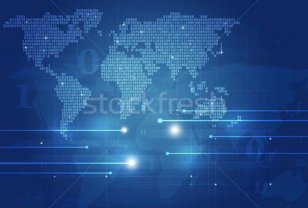 Abstract Binary Code World Map Stock photo © alexaldo