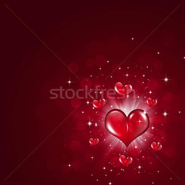 Szerelmespár ünnep piros ünneplés Valentin nap szívek Stock fotó © alexaldo