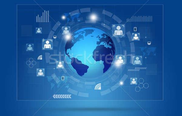 Global Communications Concept Blue Background Stock photo © alexaldo