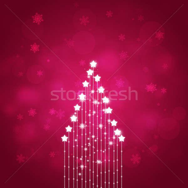 ストックフォト: 赤 · クリスマス · 星 · ツリー · 抽象的な · 星