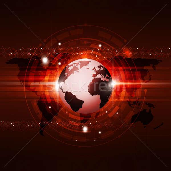 Comunicação global tecnologia vermelho abstrato global de negócios comunicação Foto stock © alexaldo
