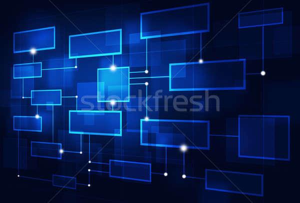 Absztrakt üzlet folyamatábra diagram kék technológia Stock fotó © alexaldo