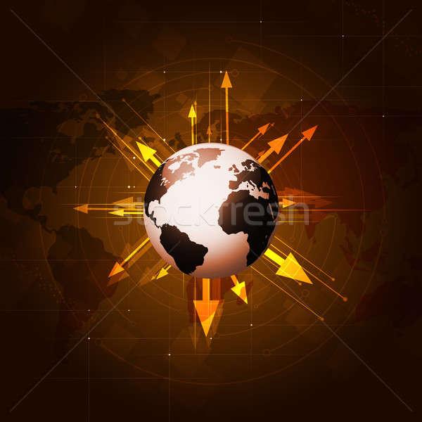 Мир бизнеса мира Стрелки вокруг земле Сток-фото © alexaldo