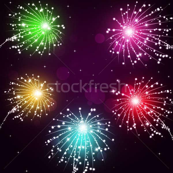 Vacaciones fuegos artificiales mostrar brillante celebración pirotécnica Foto stock © alexaldo