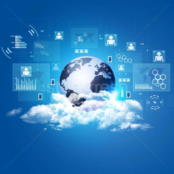 Bulut teknoloji global web iletişim Stok fotoğraf © alexaldo