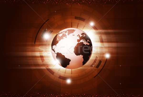 Stock photo: Digital Technology Red Background