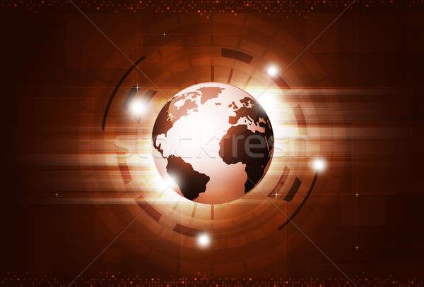 Tecnologia digitale rosso tecnologia digitale mondo business Foto d'archivio © alexaldo