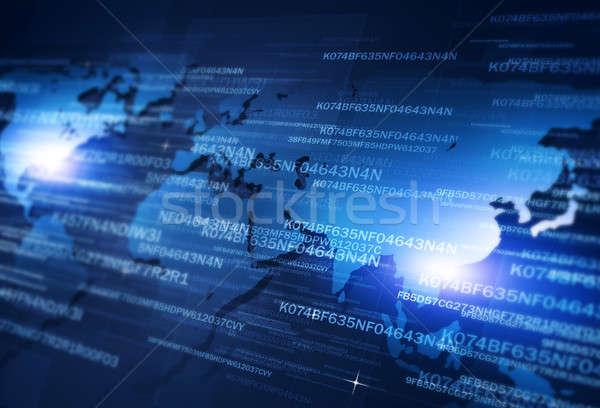 Red digital codificación tecnología seguridad azul Foto stock © alexaldo