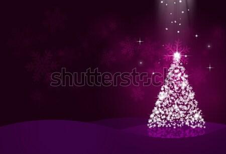 ünnep karácsony éjszaka hó fa sötét Stock fotó © alexaldo