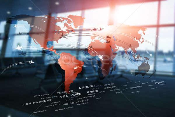 Globális üzlet légi közlekedés repülőgépek világtérkép elmosódott Stock fotó © alexaldo