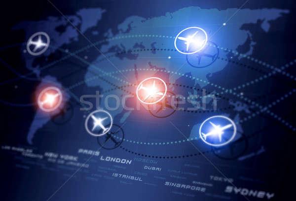 Globale luchtvaart abstract Blauw business Stockfoto © alexaldo