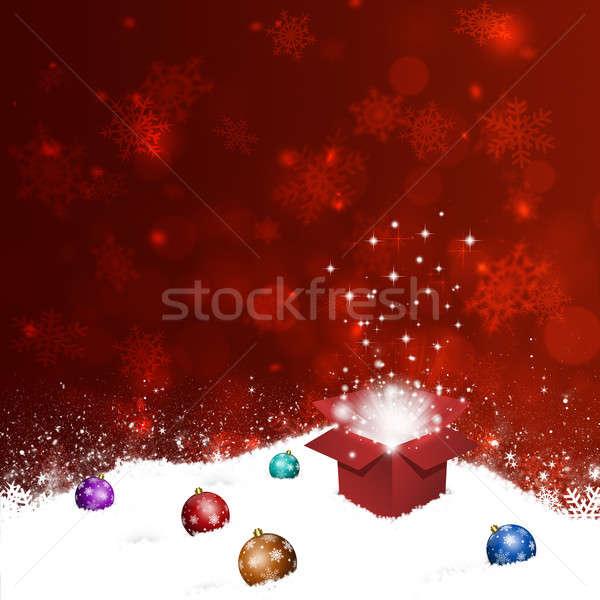 Gift Box on Snow Hill Stock photo © alexaldo
