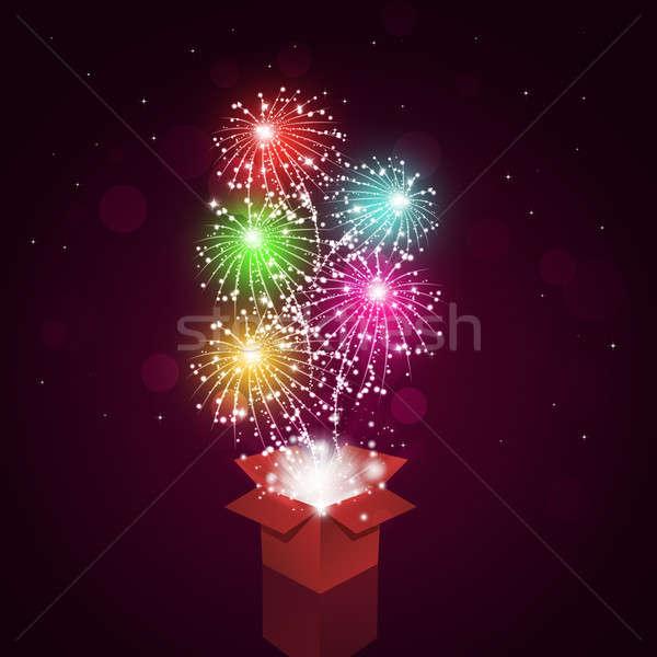 Feux d'artifice boîte vacances lumineuses célébration pyrotechnie Photo stock © alexaldo