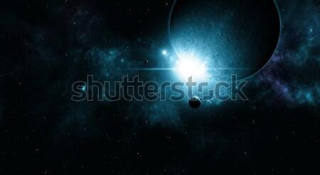 Espaço eclipse cósmico profundo planetas sol Foto stock © alexaldo
