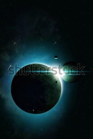 Fogyatkozás űr absztrakt képzeletbeli mély illusztráció Stock fotó © alexaldo