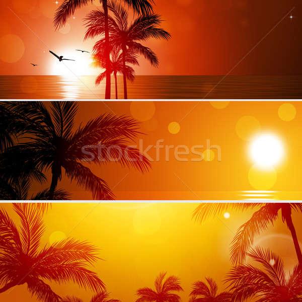 Nyár bannerek absztrakt napos pálmafák naplemente Stock fotó © alexaldo