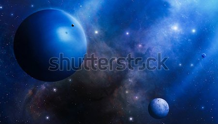 Profundo espaço planetas estrelas nebulosa imaginário Foto stock © alexaldo