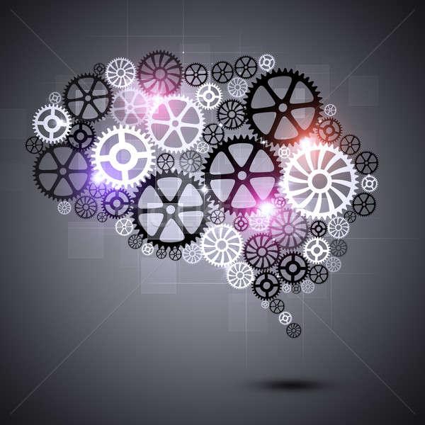 Absztrakt viselet emberi agy forma sebességváltó technológia Stock fotó © alexaldo