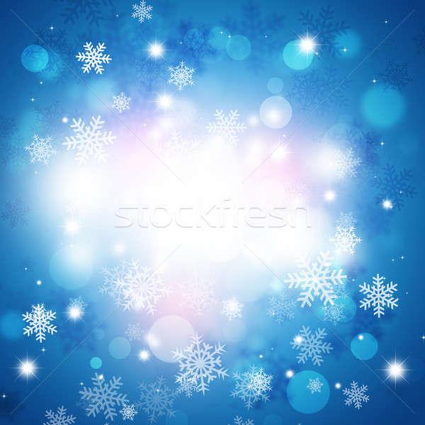 Stock fotó: Tél · hó · kék · ünnep · karácsony · homályos