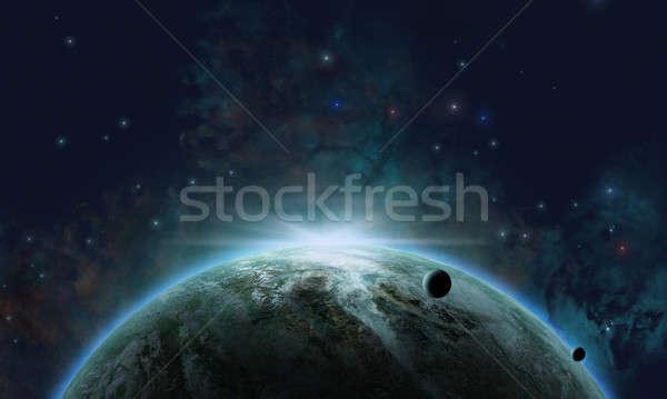 Cósmico espacio planeta luna estrellas polvo Foto stock © alexaldo