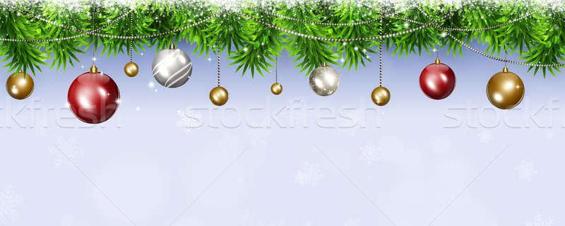Karácsony ünnep szalag tél fényes fa Stock fotó © alexaldo
