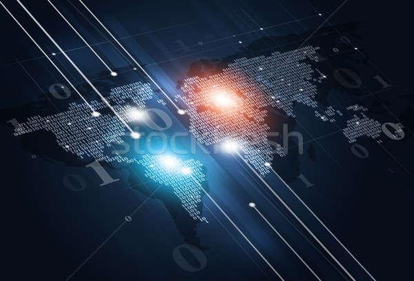 Digital código binario mapa resumen tecnología mapa del mundo Foto stock © alexaldo