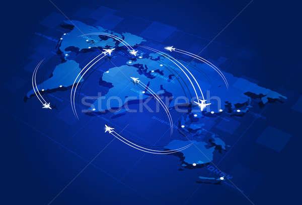 Légi közlekedés repülőgépek térkép város háttér utazás Stock fotó © alexaldo