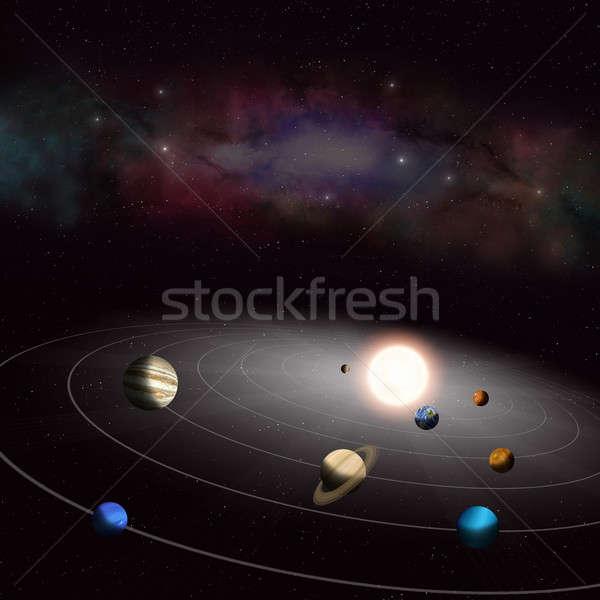Sistema solar o melhor planetas em torno de sol Foto stock © alexaldo