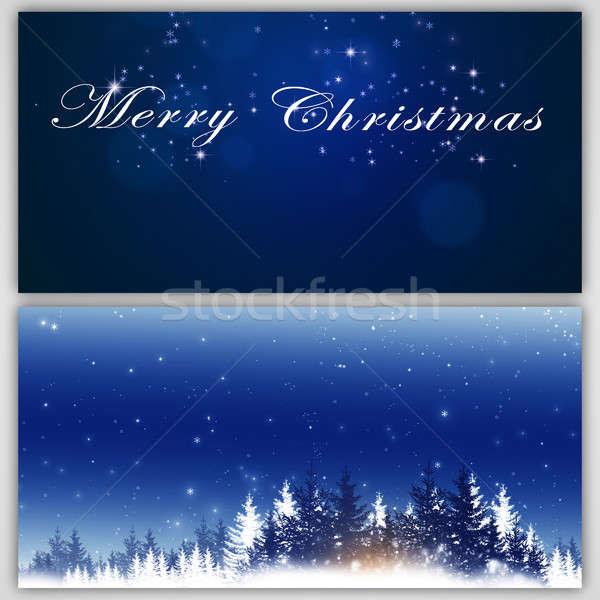 Kış Noel tatil afişler yılbaşı tebrik Stok fotoğraf © alexaldo