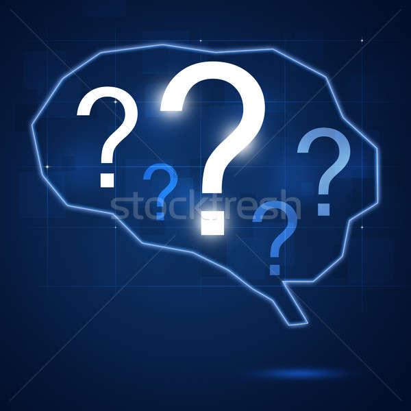 Cérebro humano forma ponto de interrogação abstrato dentro negócio Foto stock © alexaldo