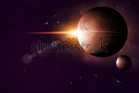 Big gas planet and moon Stock photo © alexaldo