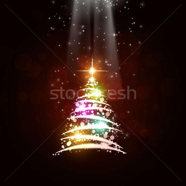 рождество дерево аннотация Рождества празднования красный Сток-фото © alexaldo