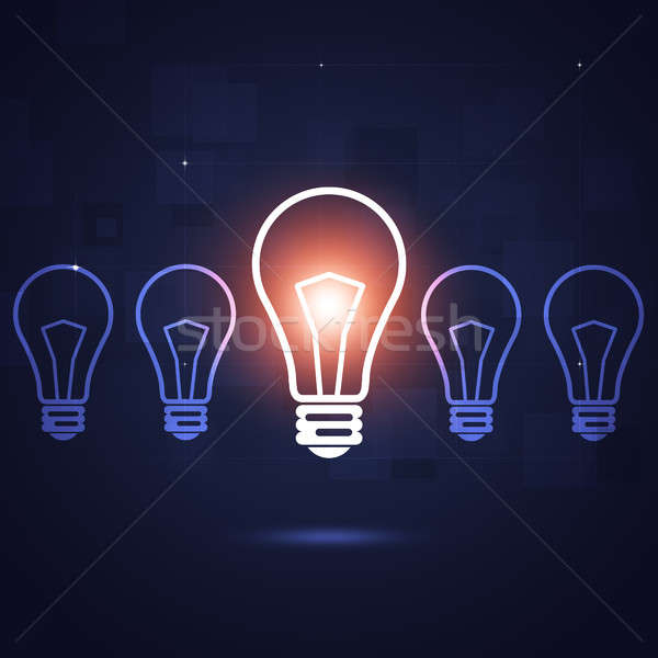 ярко лампы Идея бизнеса аннотация темно Сток-фото © alexaldo