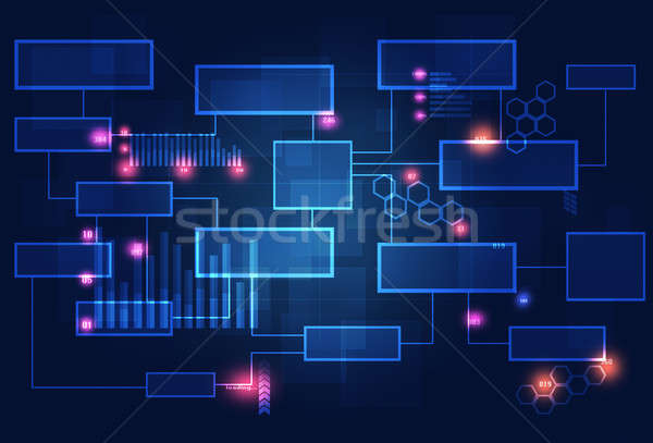 технологий бизнеса диаграмма связи диаграммы темно Сток-фото © alexaldo