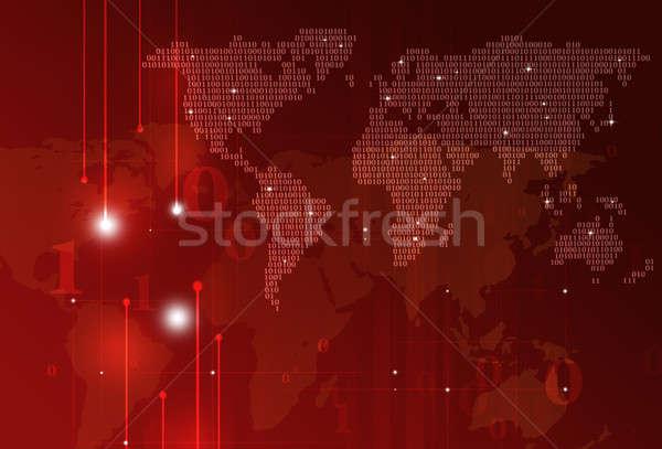 Teknoloji ikili kod soyut dünya haritası karanlık kırmızı Stok fotoğraf © alexaldo