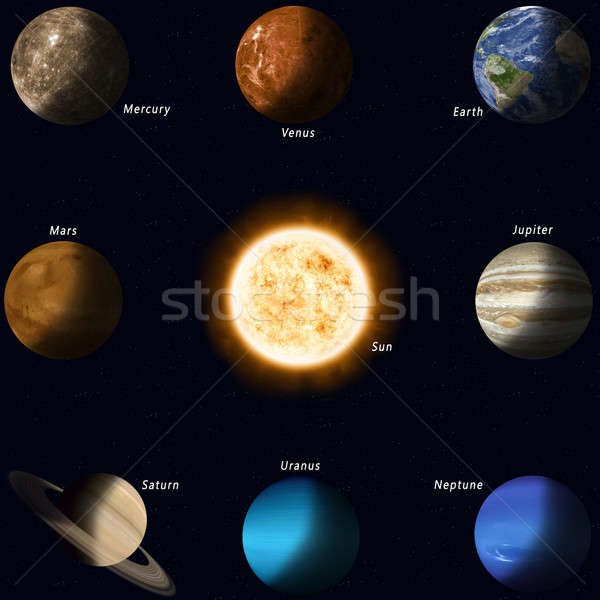 Naprendszer bolygók összes nap centrum Föld Stock fotó © alexaldo