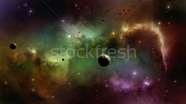 Nebulosa espacio imaginario belleza colorido estrellas Foto stock © alexaldo