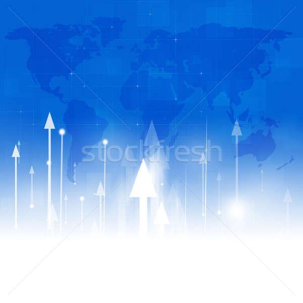 Pijlen omhoog abstract business financieren Blauw Stockfoto © alexaldo