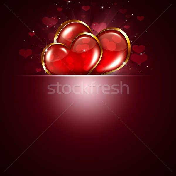 Valentin nap piros szívek kettő bokeh fények Stock fotó © alexaldo