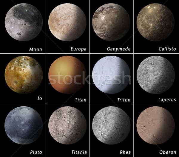 Sistema solar lua terra planeta satélite solar Foto stock © alexaldo