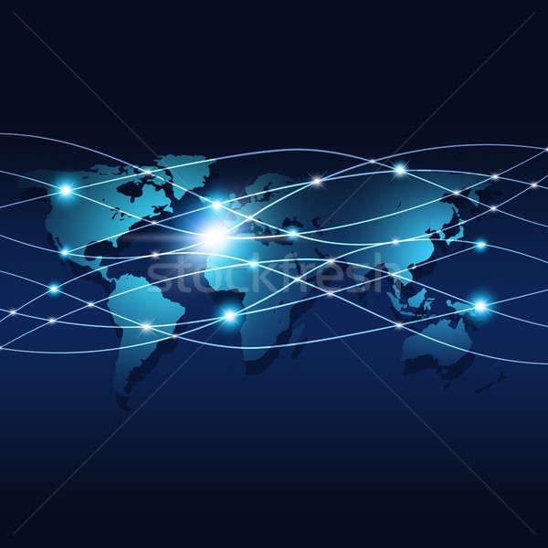 Digitális háló kapcsolatok absztrakt technológia globális Stock fotó © alexaldo