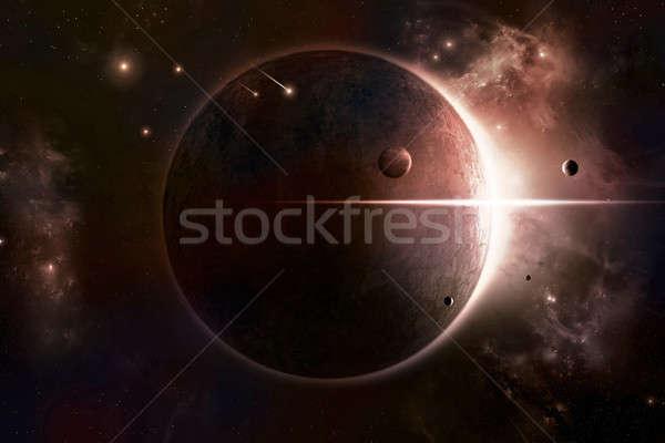 затмение пространстве солнце планеты туманность за Сток-фото © alexaldo
