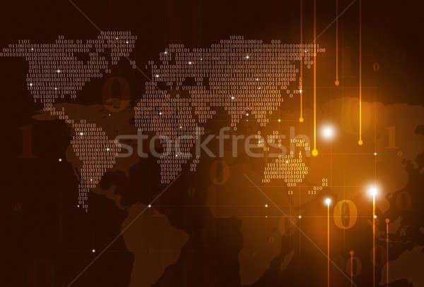 Ikili kod harita soyut teknoloji dünya haritası karanlık Stok fotoğraf © alexaldo