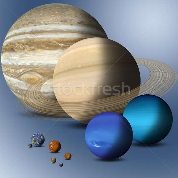 Stock photo: Planets Of Solar System Full Size Comparison
