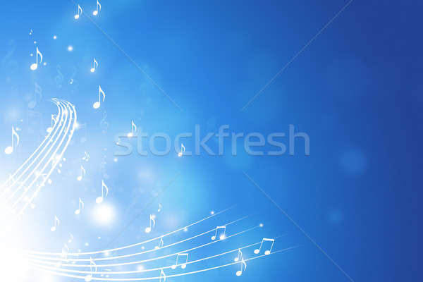 Stock photo: Music Notes Blue Background