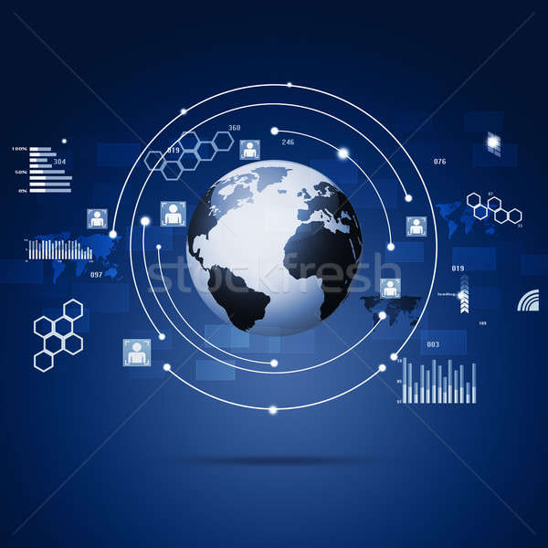 技術 グローバル通信 インターフェース 社会 青 ストックフォト © alexaldo
