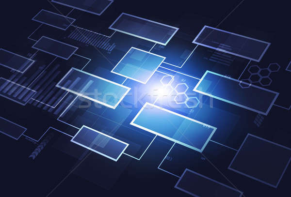 Iş akış şeması iletişim mavi soyut teknoloji Stok fotoğraf © alexaldo