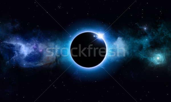 Mély űr nap fogyatkozás képzeletbeli kék Stock fotó © alexaldo